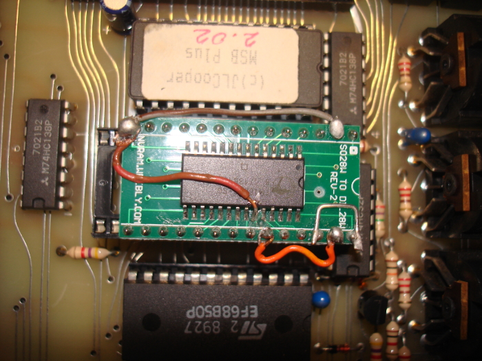 Figure 2 - 8kx8 FRAM SOIC mounted on carrier board modified to replace 2kx8 RAM