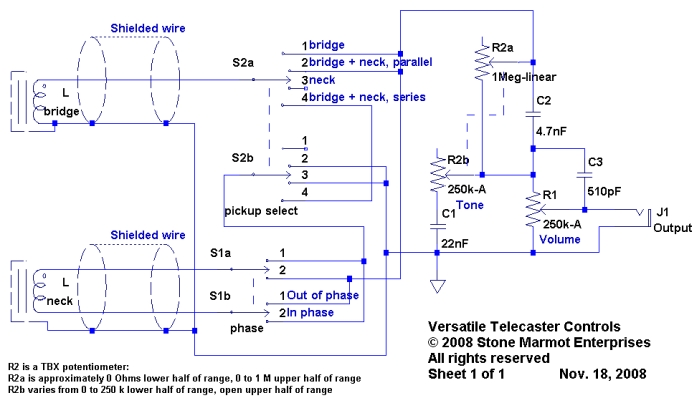 versatile telecaster controls sid of stone marmot figure 1 schematic for telecaster versatile controls built around tbx tone control