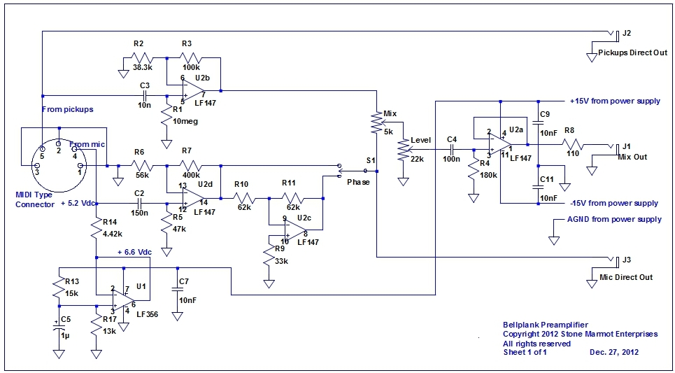 Figure 9 - Schematic for the Bellplank preamp and mixer.