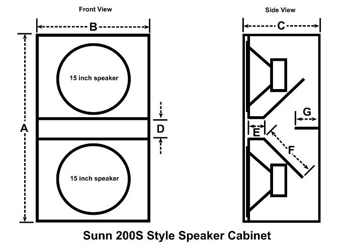 Figure 1 - Sunn 200S style cabinet drawing.
