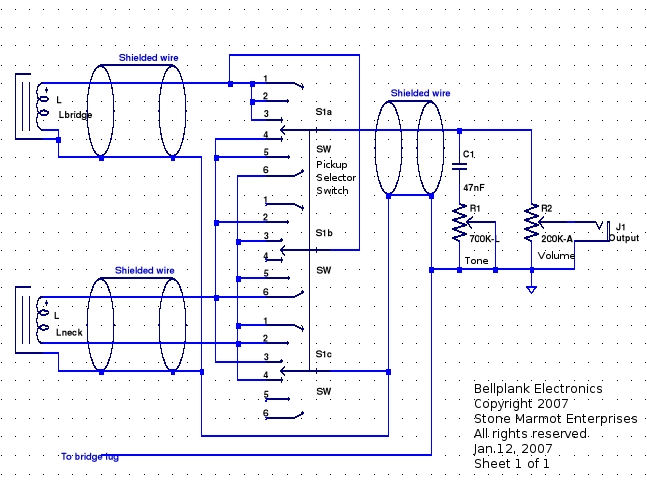 Figure 10 - Schematic for the guitar electronics