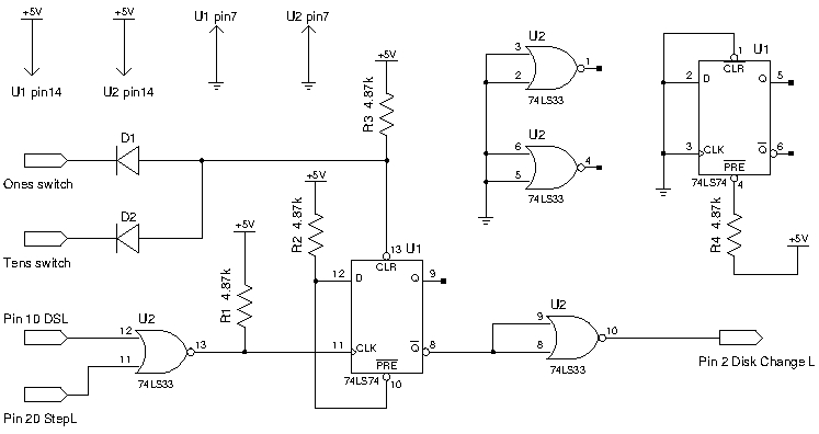 Figure 6 - Disk Change signal generation circuit schematic