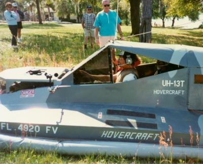 This photo shows Sid's hovercraft operating with three passengers.
