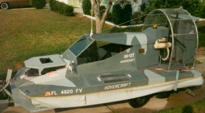 This photo shows Sid's hovercraft on its trailer a couple years later with most of the final features included.